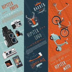 Hipster flat banners set
