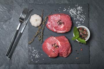 Raw fresh marbled meat Steak and seasonings