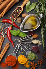 still life with spices and olive oil - fototapety na wymiar