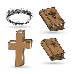 Icon set of Religious cross and Bible