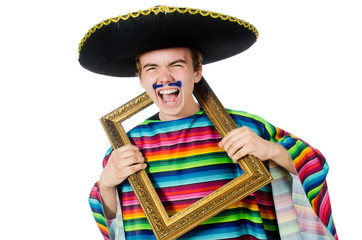 Funny young mexican with photo frame isolated on white