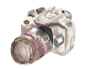 Watercolour camera on white background