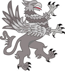 A vector illustration of a fighting grey griffin