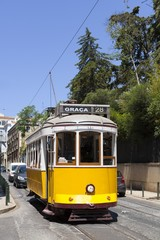 The famous yellow Tram 28 in Lisbon