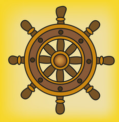 vector illustration of a wheel on a yellow background