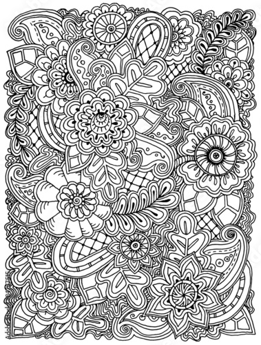 "shelly beauchamp zen tangles coloring pages | ""Ethnic floral zentangle, doodle background pattern in ..."