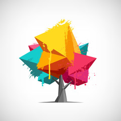 Conceptual Polygonal Tree with Paint Splashes.
