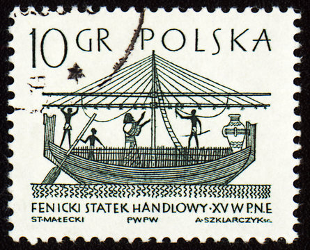 Phoenician merchant ship on post stamp