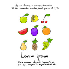 Fruit Collection Hand Draw Logo Color