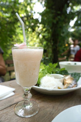 Sweet lychee frappe drinks on the dining table