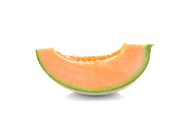 cantaloupe melon sliced isolated  on white background