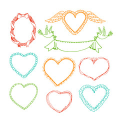 Wall Mural - Doodle hand drawn heart shape frames and floral wreaths