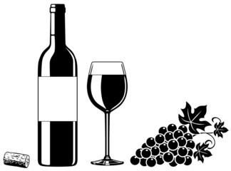 SET: Weinflasche, Weinglas, Weintrauben, Korken / Vektor