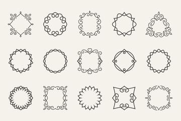 Wall Mural - Vector line emblems and badges frames for logo or labels