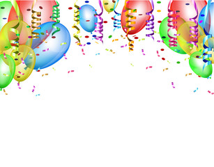 Celebratory background white pattern with colored ribbons and confetti streamers, colorful balloons flying up. Vector illustrations