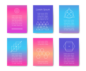 Wall Mural - Hipster cards with geometric shapes