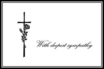 Sympathy Card, Cross, Rose, Illustration, Landscape Format, Vector