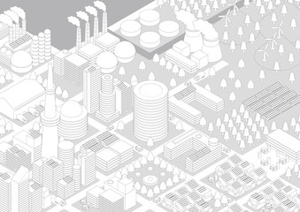 City Landscape(factories and power plants), line drawing illustration