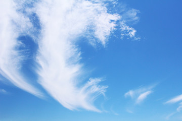 Clouds flowing and clear blue sky