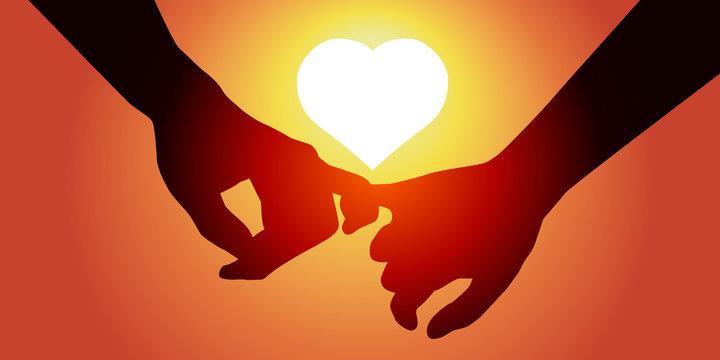 Amoureux Coeur-Soleil Couchant