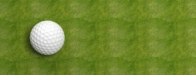 Poster Golf Golf ball on green turf banner