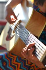 Performing guitar