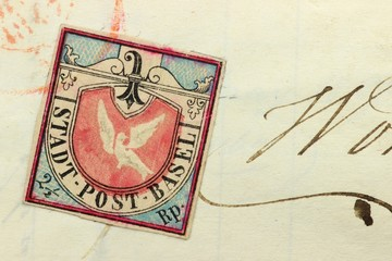 Brief frankiert mit Basler Taube Briefmarke