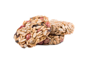 Stack of candied roasted peanuts sunflower seeds.