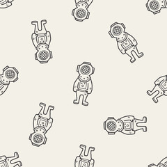 diver doodle seamless pattern background