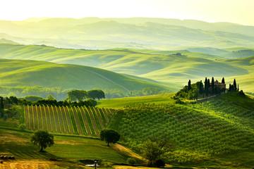 Obraz Zielone wzgórza Toskanii - fototapety do salonu