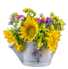 Yellow sunflowers and colored wild flowers, white watercan
