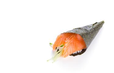 Salmon sushi temaki isolated on white background