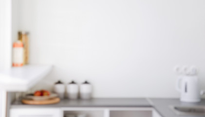blurred kitchen interior for background