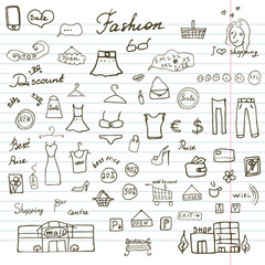Fashion collection Sketchy Doodles set with Lettering, Hand-Drawn Vector Illustration Design Elements on Lined Sketchbook Paper Background