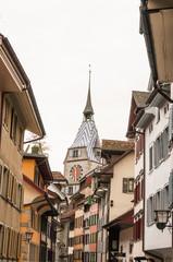 Stadt Zug, Altstadt, historische Altstadthäuser, Zytturm, Turm, Zuger Altstadt, Zugersee, Schweiz