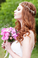 Beautiful bride portrait with pearl accessory. Fairy
