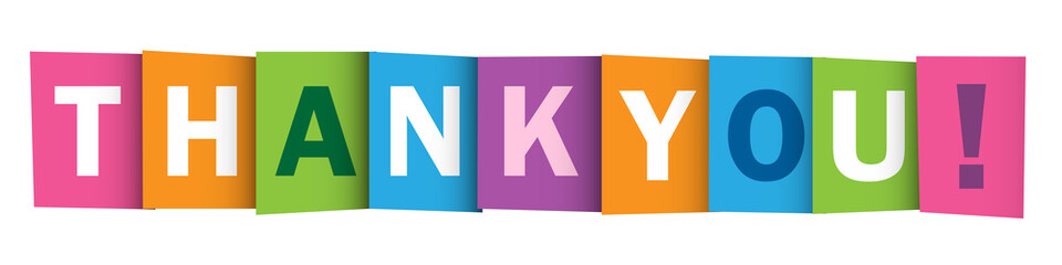 """THANK YOU"" Vector Overlapping Letters Icon"