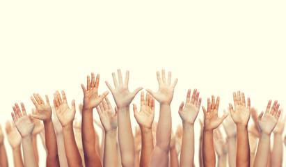 human hands waving hands