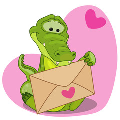Crocodile with envelope