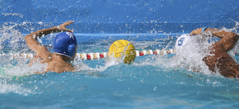competition water polo two players contenting pool