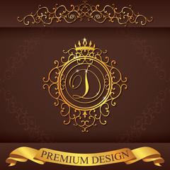 Letter D. Luxury Logo template vector illustration
