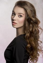 sensual girl with cute long hair