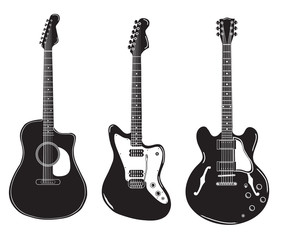 set of acoustic guitars and electric guitars.