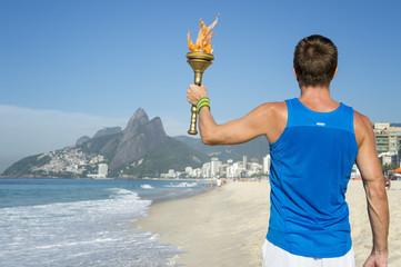 Athlete Holding Sport Torch Rio de Janeiro