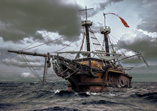 Abandoned ship at the sea