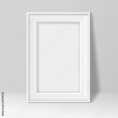 blank frame on white wall background. illustration .\