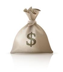 Full sack with money dollars. Eps10 vector illustration.