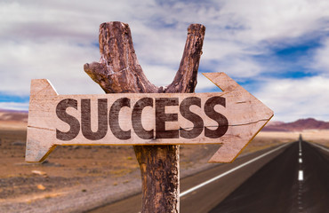 Success direction sign with road background