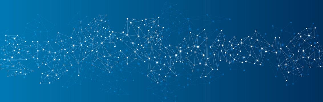 Blue social network background.