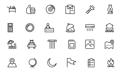 Hotel and Restaurant Line Icons 10